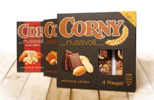 Schwartau Corny Nussvoll Packaging, entwickelt von der Markenagentur Menori Design aus Hamburg und New York