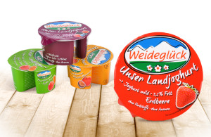 Weideglueck Landjoghurt Packaging, entwickelt von der Markenagentur Menori Design aus Hamburg und New York